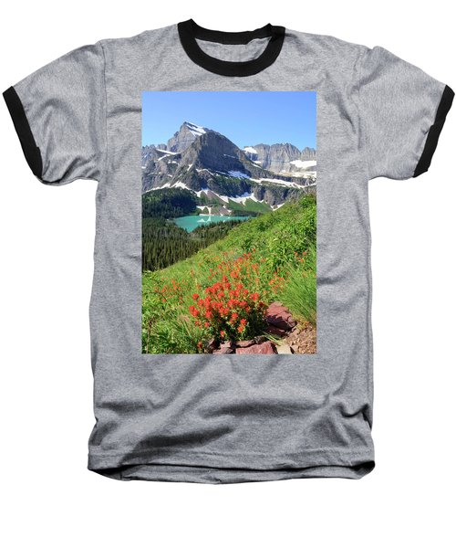 Paintbrush Above Grinnell Lake Baseball T-Shirt