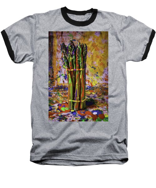 Painted Asparagus Baseball T-Shirt by Garry Gay