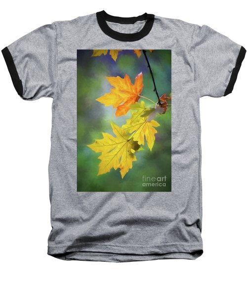 Painted Autumn Leaves Baseball T-Shirt
