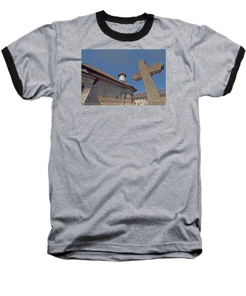 Painted Bucovina Monastery Baseball T-Shirt by Dennis Cox WorldViews