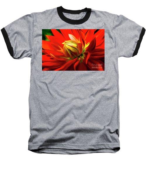 Painted Dahlia In Full Bloom Baseball T-Shirt