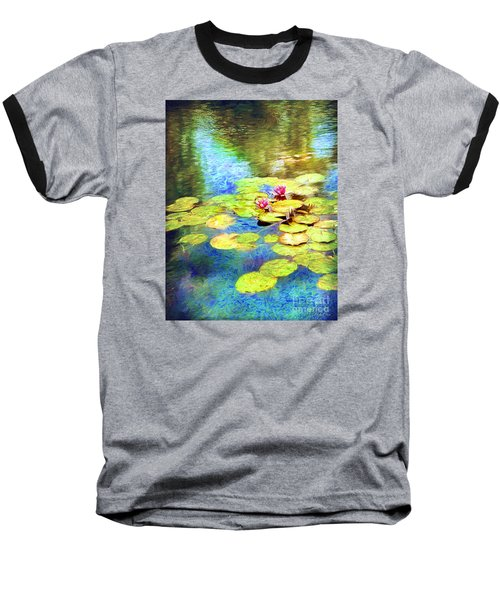 Baseball T-Shirt featuring the digital art Painted Lilypads by Linda Olsen
