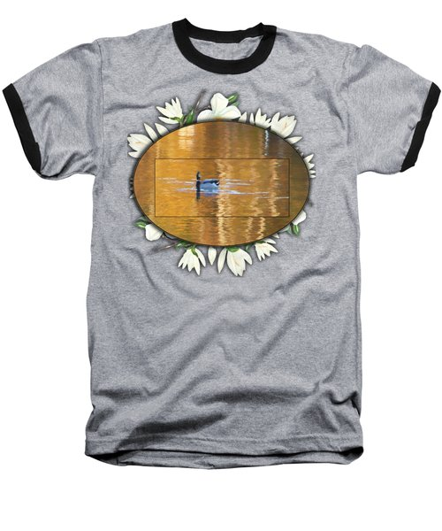 Baseball T-Shirt featuring the painting Painted Mallard On Magnolia Pond by Ericamaxine Price