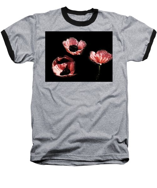 Painted Peach Poppies Baseball T-Shirt