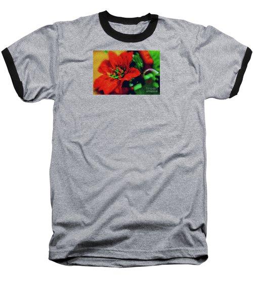 Painted Poinsettia Baseball T-Shirt