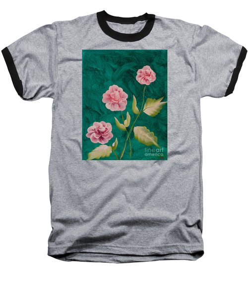 Painted Roses Baseball T-Shirt by Donna Brown