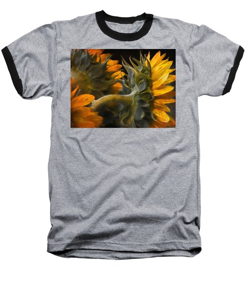 Painted Sun Flowers Baseball T-Shirt by John Rivera