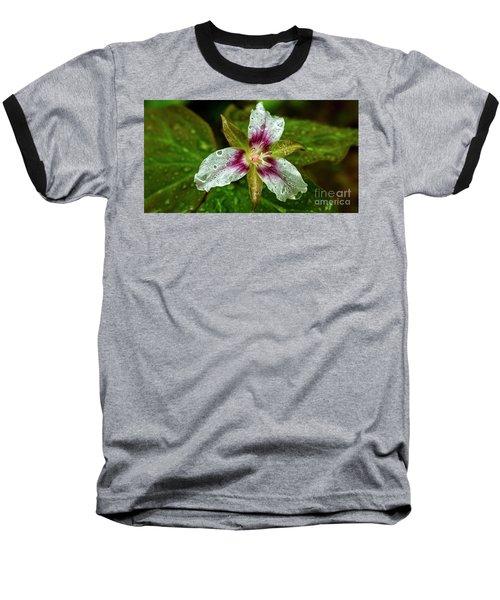Painted Trillium With Raindrops Baseball T-Shirt