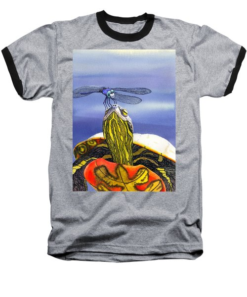 Painted Turtle And Dragonfly Baseball T-Shirt