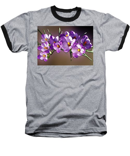Painted Violets Baseball T-Shirt by John Haldane