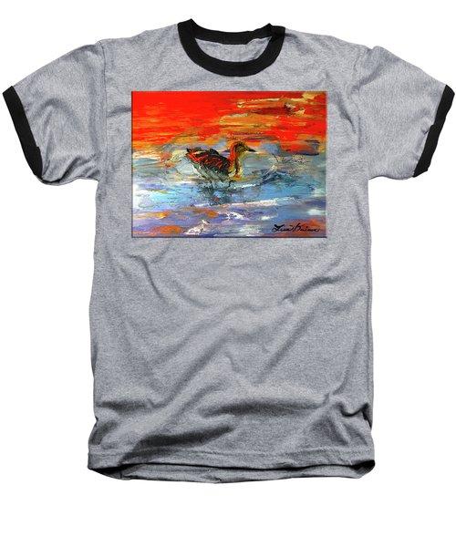 Painterly Escape II Baseball T-Shirt by Lisa Kaiser