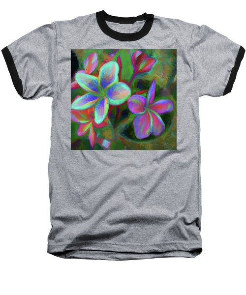 Painterly Frangipanis Baseball T-Shirt