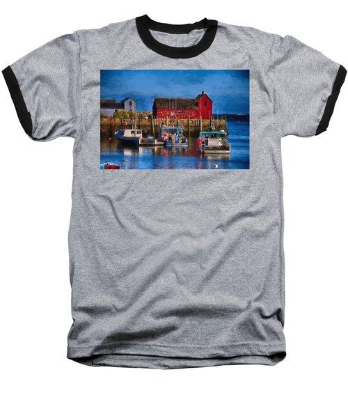 Painterly Motif #1 Rockport Baseball T-Shirt by Tricia Marchlik
