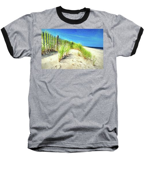 Baseball T-Shirt featuring the photograph Painterly  Waterfront Dune Grass by Gary Slawsky