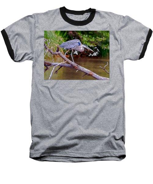 Painting Blue Heron Oak Creek Baseball T-Shirt by Dr Bob Johnston
