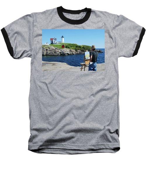 Painting Nubble Lighthouse Baseball T-Shirt