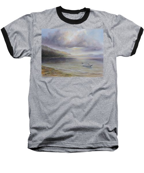 Beach By Sruce Run Lake In New Jersey At Sunrise With A Boat Baseball T-Shirt