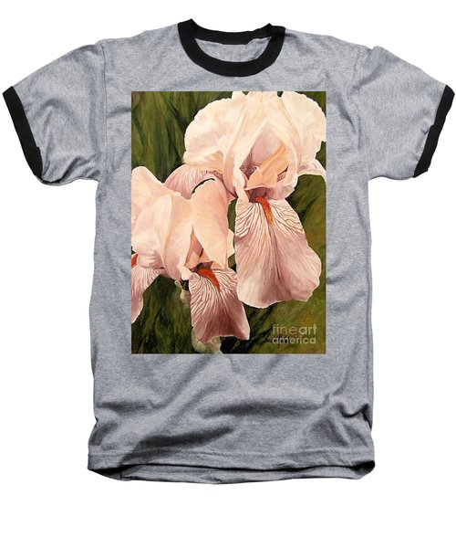 Baseball T-Shirt featuring the painting Pair Of Peach Iris  by Laurie Rohner