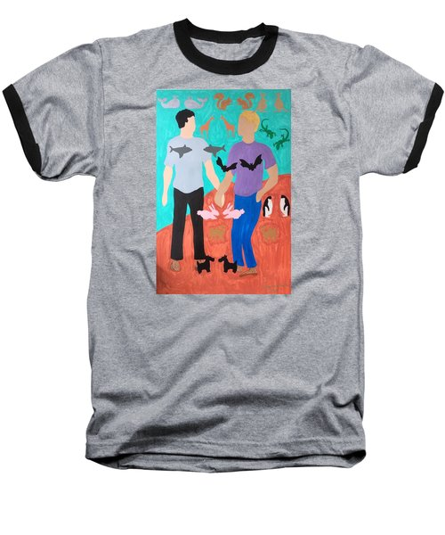 Baseball T-Shirt featuring the painting Pairs by Erika Chamberlin