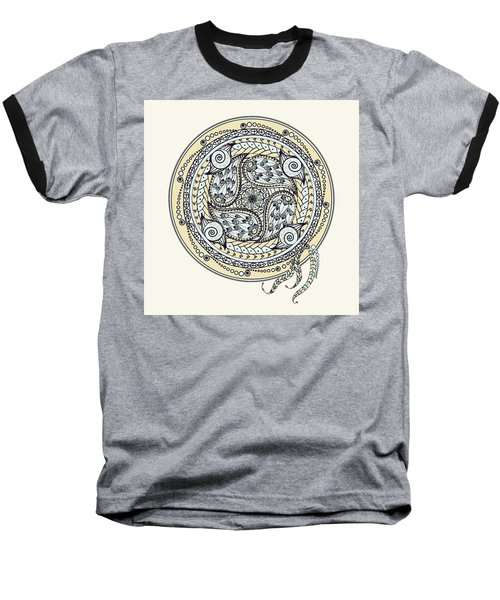 Paisley Balance Mandala Baseball T-Shirt by Deborah Smith