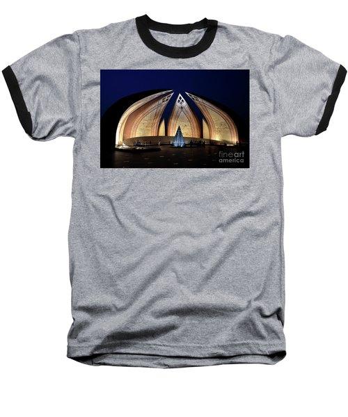 Pakistan Monument Illuminated At Night Islamabad Pakistan Baseball T-Shirt
