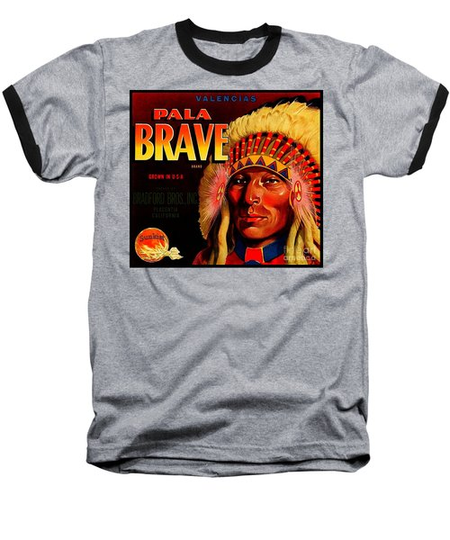 Baseball T-Shirt featuring the painting Pala Brave 1920s Sunkist Oranges by Peter Gumaer Ogden