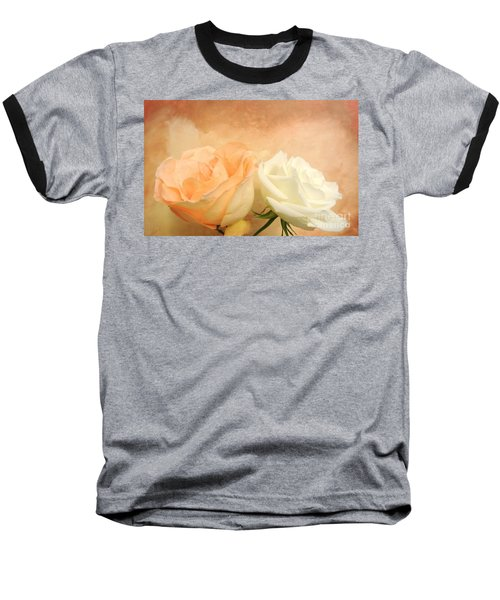Pale Peach And White Roses Baseball T-Shirt