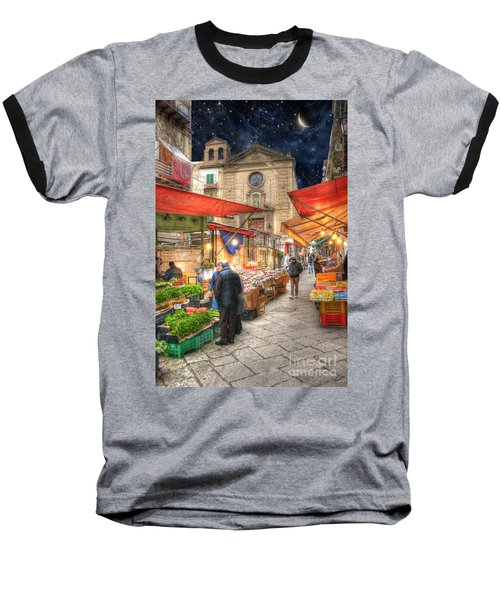 Palermo Market Place Baseball T-Shirt by Juli Scalzi