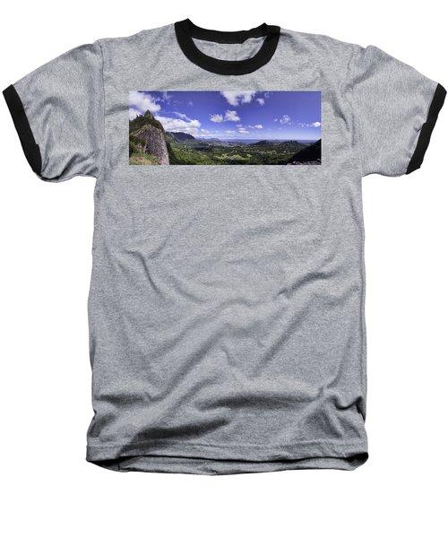Pali Lookout Panorama Baseball T-Shirt