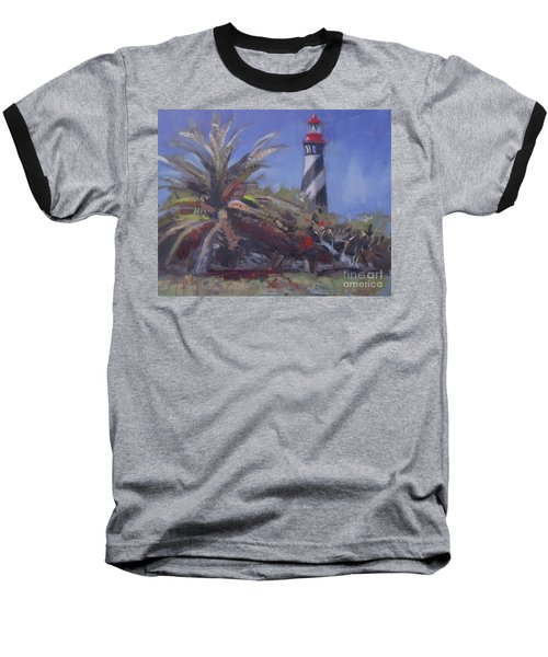 Palm By The Lighthouse Baseball T-Shirt by Mary Hubley