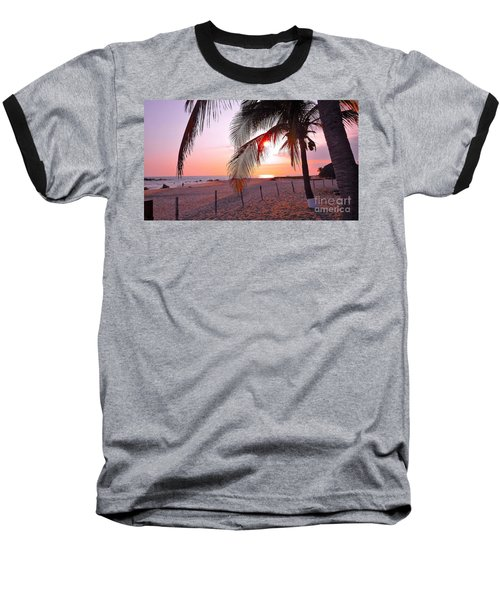 Palm Collection - Sunset Baseball T-Shirt by Victor K