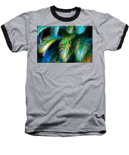 Palm Leaves In Blue Baseball T-Shirt