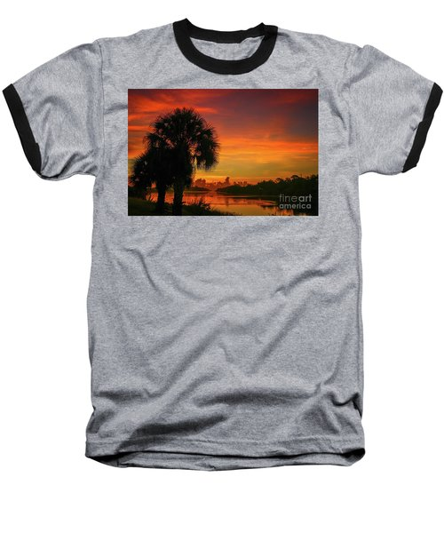 Palm Silhouette Sunrise Baseball T-Shirt