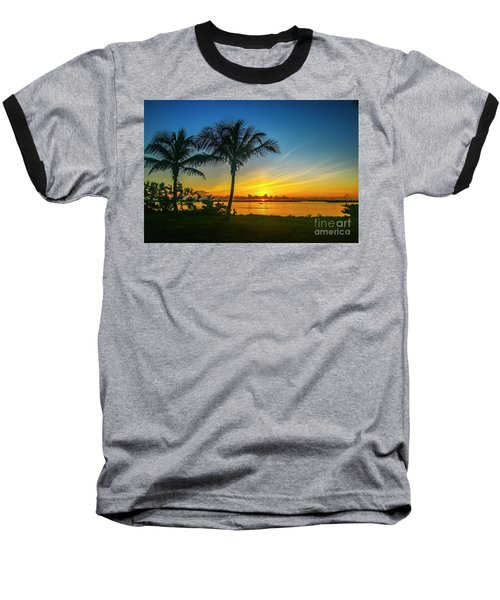 Palm Tree And Boat Sunrise Baseball T-Shirt