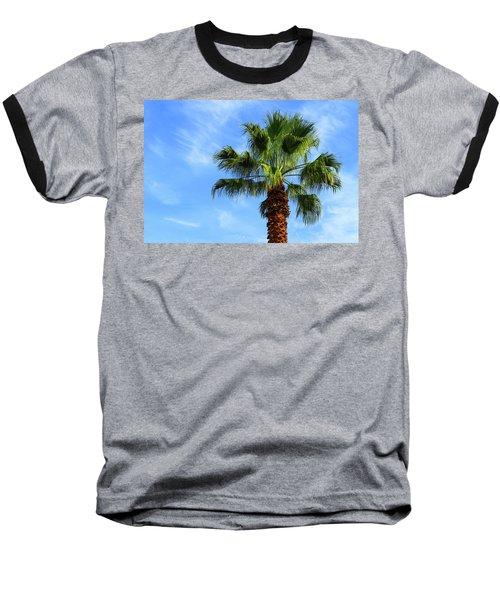 Palm Tree, Blue Sky, Wispy Clouds Baseball T-Shirt
