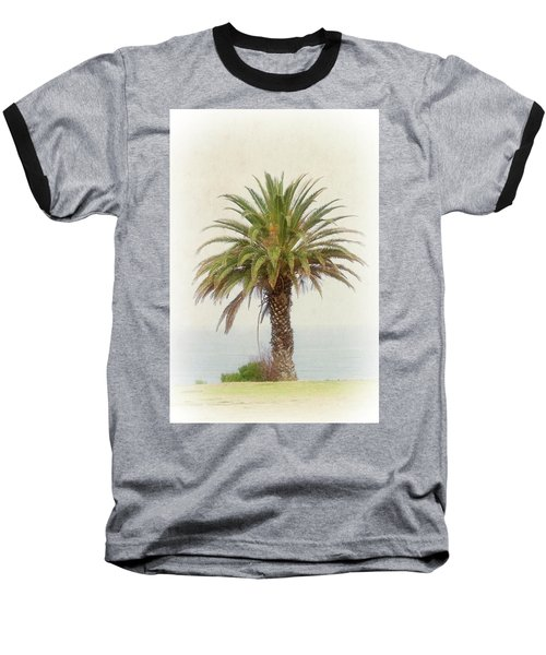 Palm Tree In Coastal California In A Retro Style Baseball T-Shirt