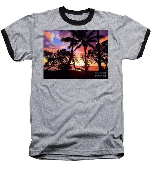 Palm Tree Silhouette Baseball T-Shirt by Kristine Merc
