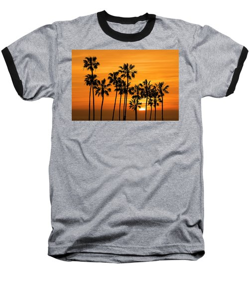 Baseball T-Shirt featuring the photograph Palm Trees At Sunset By Cabrillo Beach by Randall Nyhof