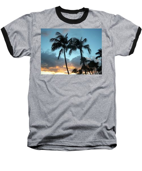 Palm Trees At Sunset Baseball T-Shirt