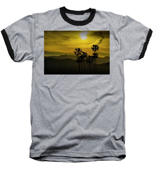 Baseball T-Shirt featuring the photograph Palm Trees At Sunset With Mountains In California by Randall Nyhof