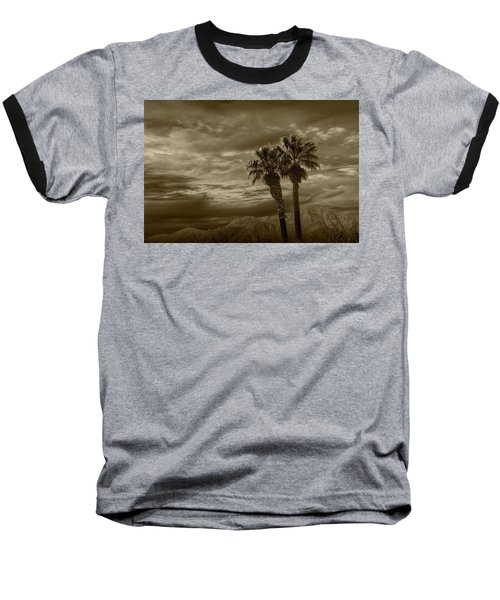 Baseball T-Shirt featuring the photograph Palm Trees By Borrego Springs In Sepia Tone by Randall Nyhof