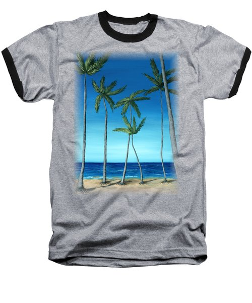 Baseball T-Shirt featuring the painting Palm Trees On Blue by Anastasiya Malakhova
