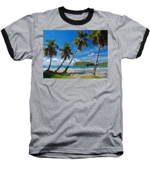 Baseball T-Shirt featuring the digital art Palm Trees On Sandy Beach by Anthony Fishburne