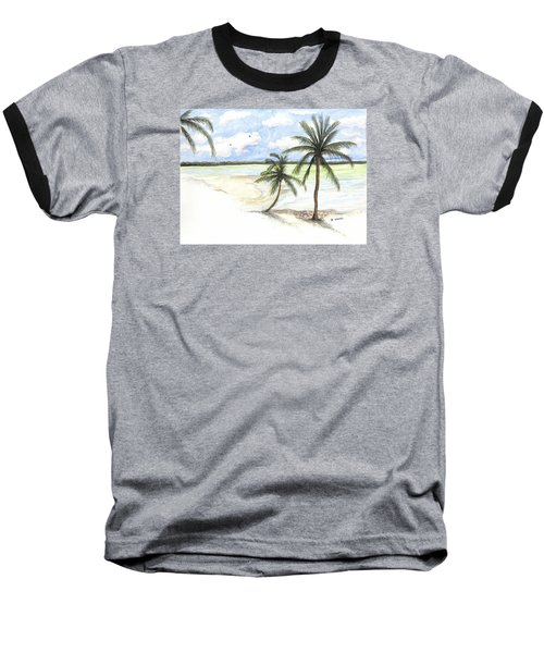 Baseball T-Shirt featuring the painting Palm Trees On The Beach by Darren Cannell