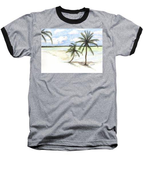 Palm Trees On The Beach Baseball T-Shirt