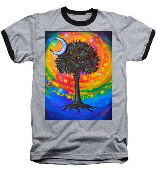 Baseball T-Shirt featuring the painting Palmetto Tree Of Life by Agata Lindquist