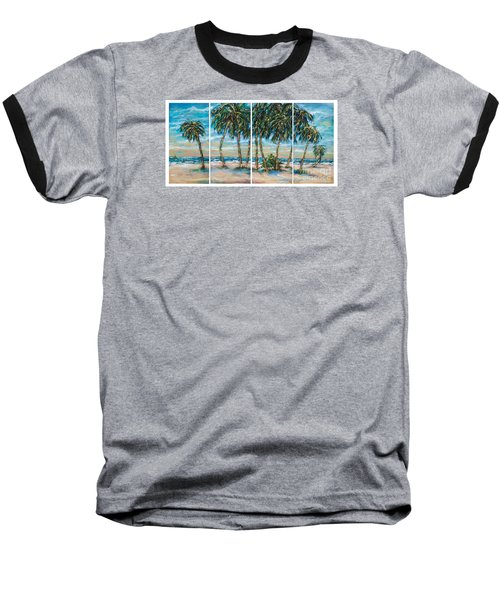 Baseball T-Shirt featuring the painting Palms Along The Shore by Linda Olsen