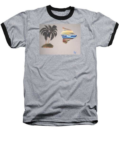 Baseball T-Shirt featuring the painting Palms And Big Island by Karen Nicholson