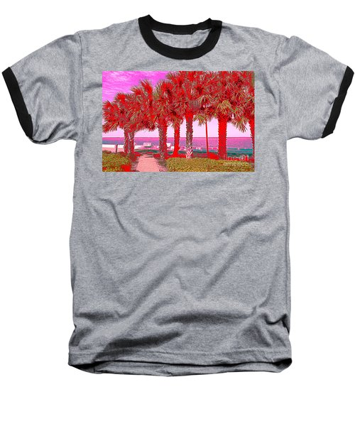 Palms In Red Baseball T-Shirt