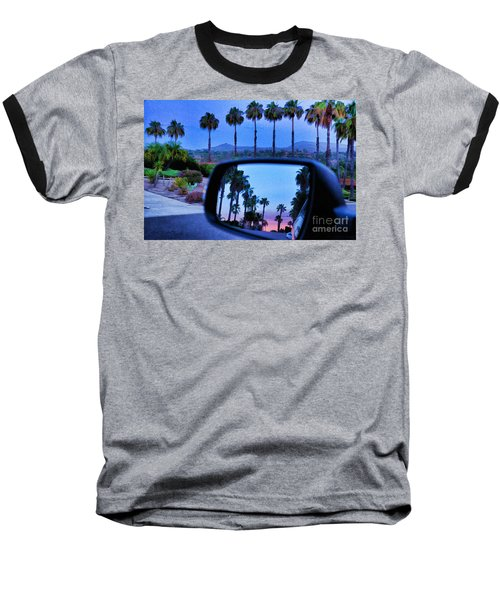 Palms Sunset Reflection Baseball T-Shirt by Sharon Soberon